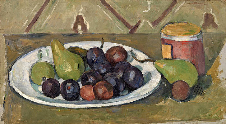 Plate with Fruit and Pot of Preserves Print by Paul Cezanne