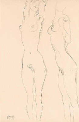 Two Nudes, the Left One with Raised Arms Print by Gustav Klimt