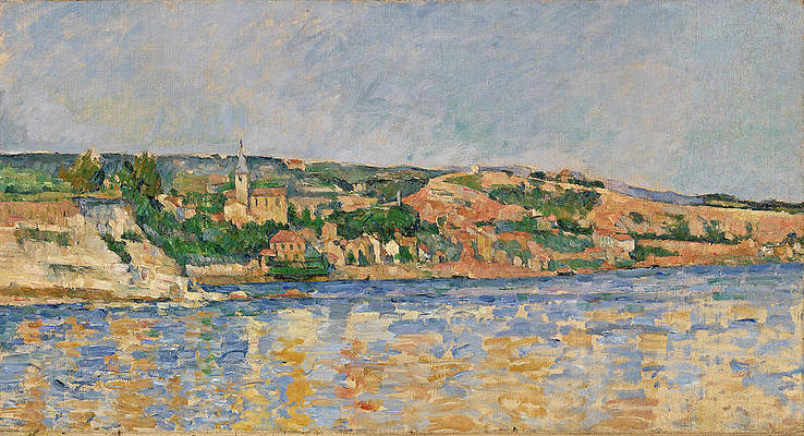 Village at the Water's Edge Print by Paul Cezanne