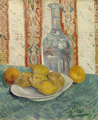 Carafe and Dish with Citrus Fruit Print by Vincent van Gogh