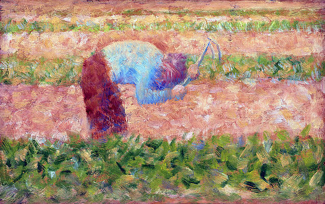Man With A Hoe Print by Georges Seurat