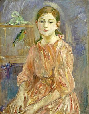 The Artist's Daughter with a Parakeet Print by Berthe Morisot