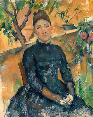 Madame Cezanne in the Conservatory Print by Paul Cezanne