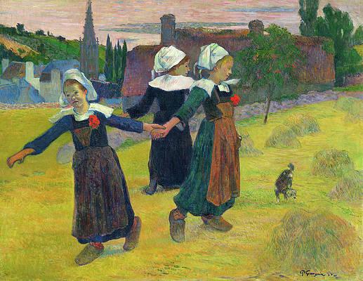Breton Girls Dancing, Pont-Aven Print by Paul Gauguin