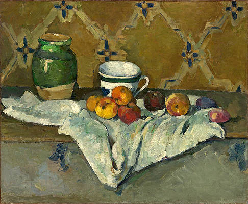 Still Life with Jar, Cup, and Apples Print by Paul Cezanne