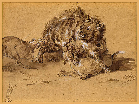 A hyena attacked by two dogs Print by Jean-Baptiste Oudry