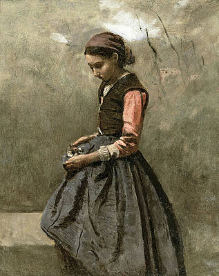 A pensive Girl Print by Jean-Baptiste-Camille Corot