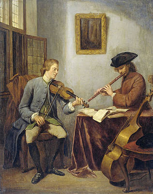 A Violinist And A Flutist Playing Music Together, The Musicians Print by Julius Henricus Quinkhard