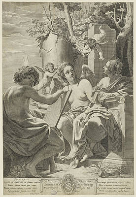 Allegory Of Intellect, Memory, And Will Print by Claude Mellan