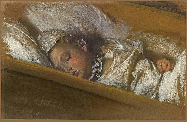 An Infant Asleep in His Crib Print by Adolph von Menzel