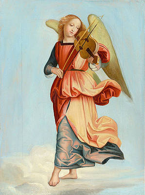 Angel playing music, After Raphael Print by Franz Ittenbach