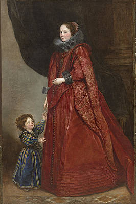A Genoese Lady with Her Child Print by Anthony van Dyck