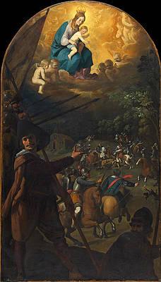 Battle between Christians and Muslims at El Sotillo Print by Francisco de Zurbaran