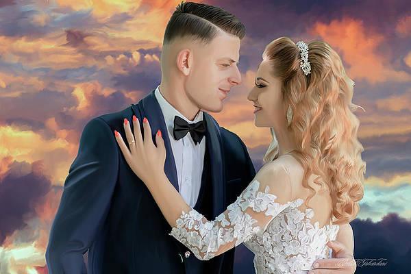 Bride and Groom Wedding Painting by Omid Gohardani