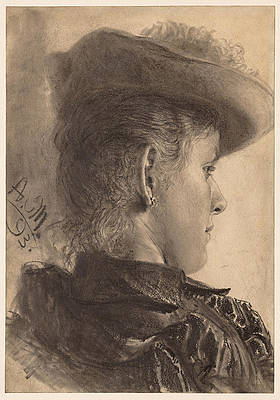 Bust of a Woman, Seen from Behind Print by Adolph von Menzel