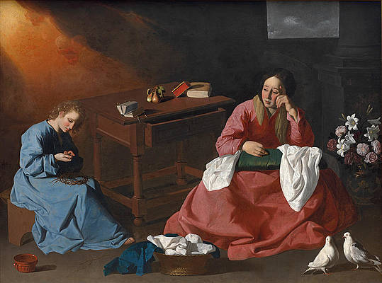 Christ and the Virgin in the House at Nazareth Print by Francisco de Zurbaran