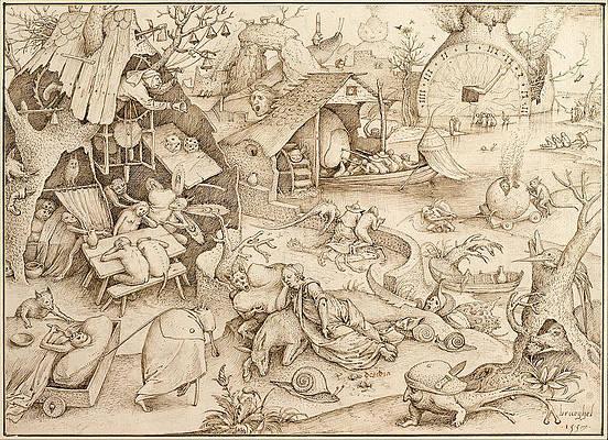 Desidia. Sloth Print by Pieter Bruegel the Elder