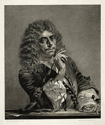 Essay on Stone with Brush and Scraper, Portrait of Moliere Print by Adolph von Menzel