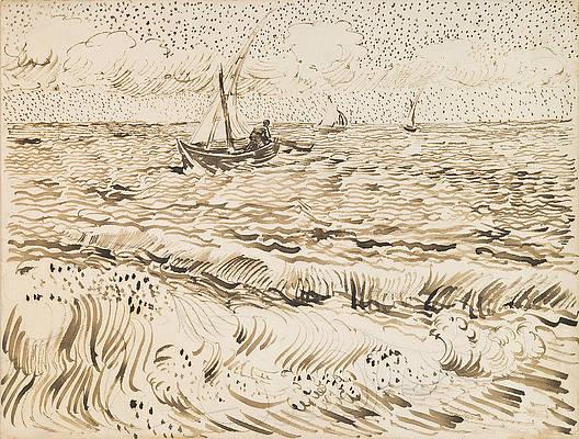 Fishing Boats at Saintes-Maries-de-la-Mer 2 Print by Vincent van Gogh