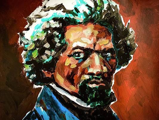 Watercolor historical portrait painting of Frederick  Douglass
