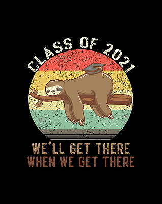 Graduation Cap Drawing - Funny Retro Senior Class Of 2021 Sloth Cap Graduation Gifts by Lucy Wilk