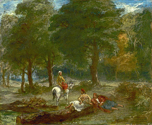 Greek Cavalry Men Resting in Forest Print by Eugene Delacroix