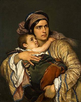 Greek Mother Print by Cesare Dell'Acqua