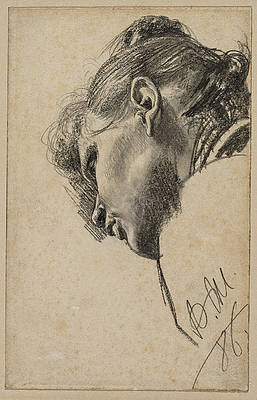 Head of a Young Woman Seen from Below Print by Adolph von Menzel