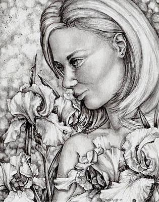 Реалистичный рисунок цветка - ирис от Shana Rowe Jackson