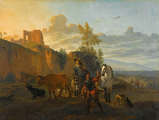 Italian Landscape With Soldiers Print by Karel Dujardin