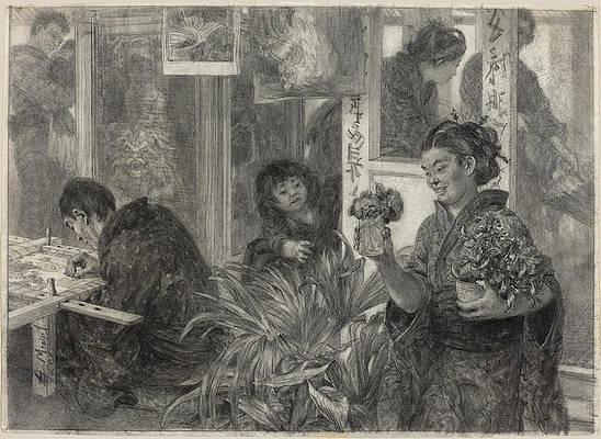 Japanese Artist at Work Print by Adolph von Menzel