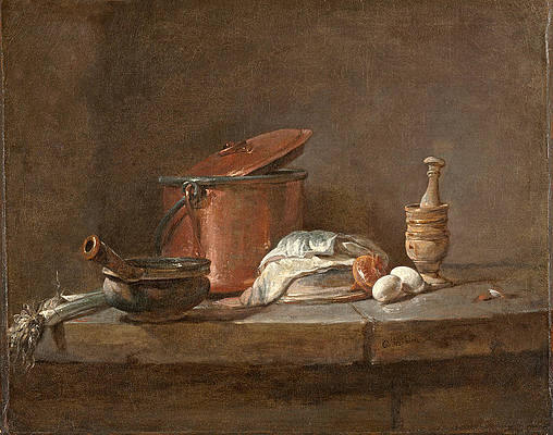 Kitchen Utensils with Leeks, Fish, and Eggs Print by Jean-Simeon Chardin