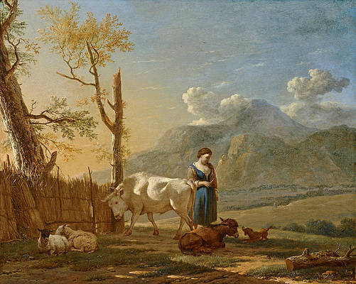 Landscape with a Shepherdess Print by Karel Dujardin
