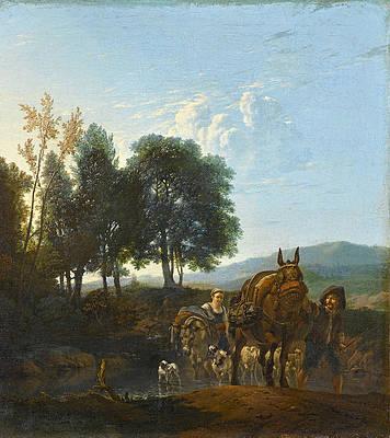 Landscape With Mule Driver Print by Karel Dujardin