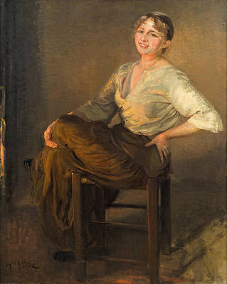 Laughing girl Print by Fritz von Uhde