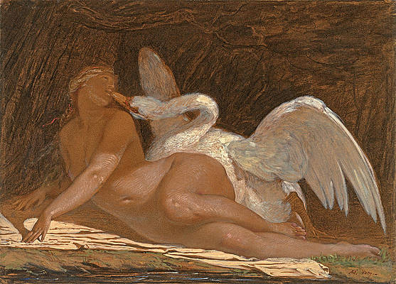 Leda and the Swan Print by Adolphe Yvon