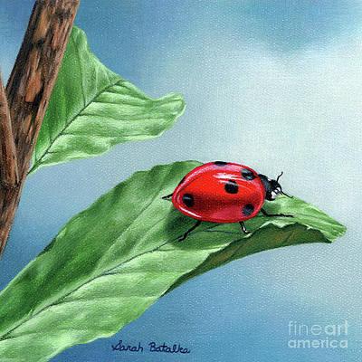 Реалистичный цветочный рисунок - Luck Be A Ladybug- Square Format от Sarah Batalka