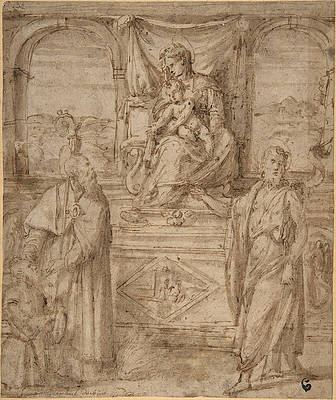 Madonna and Child Enthroned with Saint Basil the Great and Saint John the Baptist and Donor Print by Niccolo dell Abbate