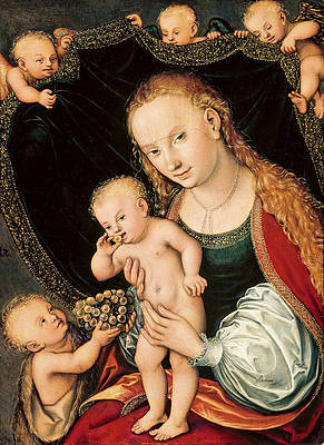 Madonna and Child with the Infant John the Baptist and Angels Print by Lucas Cranach the Elder