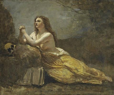 Mary Magdalene in Prayer Print by Jean-Baptiste-Camille Corot
