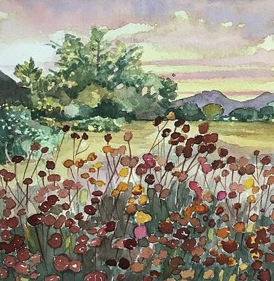 Original Watercolor Landscape Painting Bloom