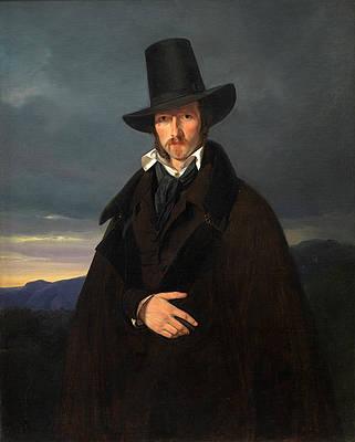 Portrait of the German Painter Wilhelm von Kaulbach Print by Wilhelm Bendz
