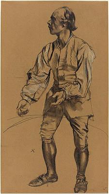 Richard Menzel Posing in Eighteenth-Century Costume Print by Adolph von Menzel