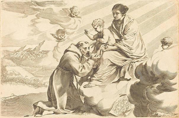 Saint Francis Adoring The Christ Child Print by Claude Mellan