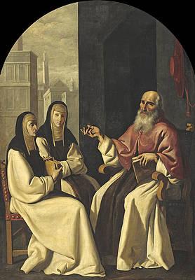 Saint Jerome with Saint Paula and Saint Eustochium Print by Francisco de Zurbaran and Workshop
