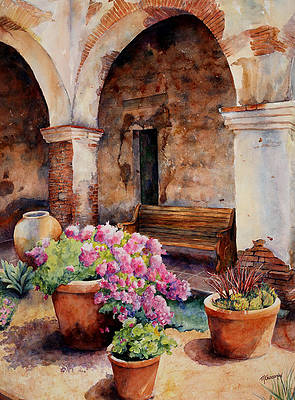 Old Mission Painting - San Juan Capistrano by Mary Giacomini
