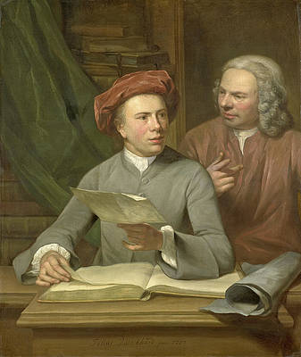 Self-portrait With Jan Maurits Quinkhard Next To Him Print by Julius Henricus Quinkhard