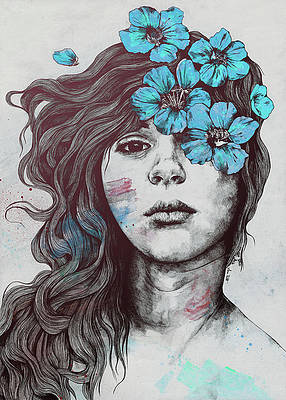 Реалистичный цветочный рисунок - Мягко произнесенная агония синего цвета - карандашный портрет цветочницы от Марко Палуде