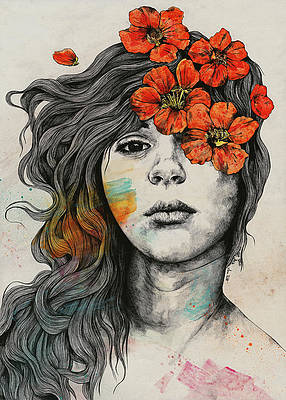 Realistic Flower Drawing - Softly Spoken Agony - flower girl pencil portrait by Marco Paludet