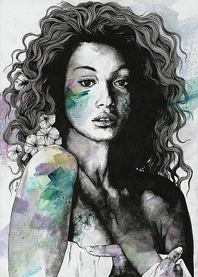 Realistic Flower Drawing - Start With a Strong and Persistent Desire - sexy black woman portrait by Marco Paludet
